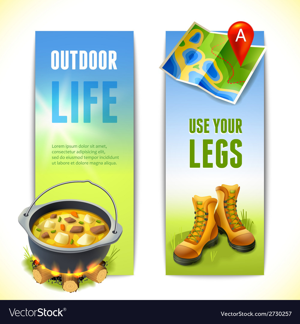 Camping vertical banners vector | Price: 1 Credit (USD $1)