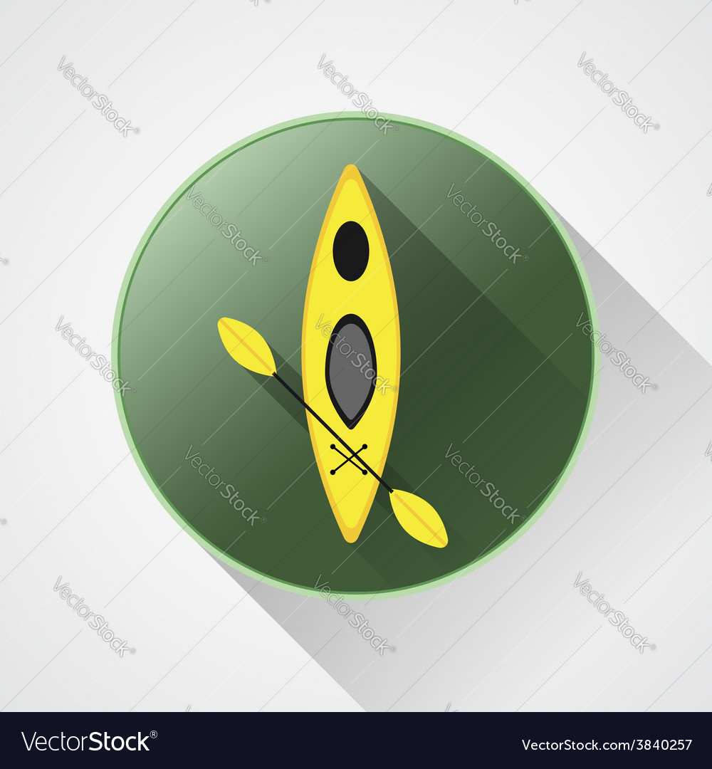 Canoe icon kayak on a green button summer vector   Price: 1 Credit (USD $1)