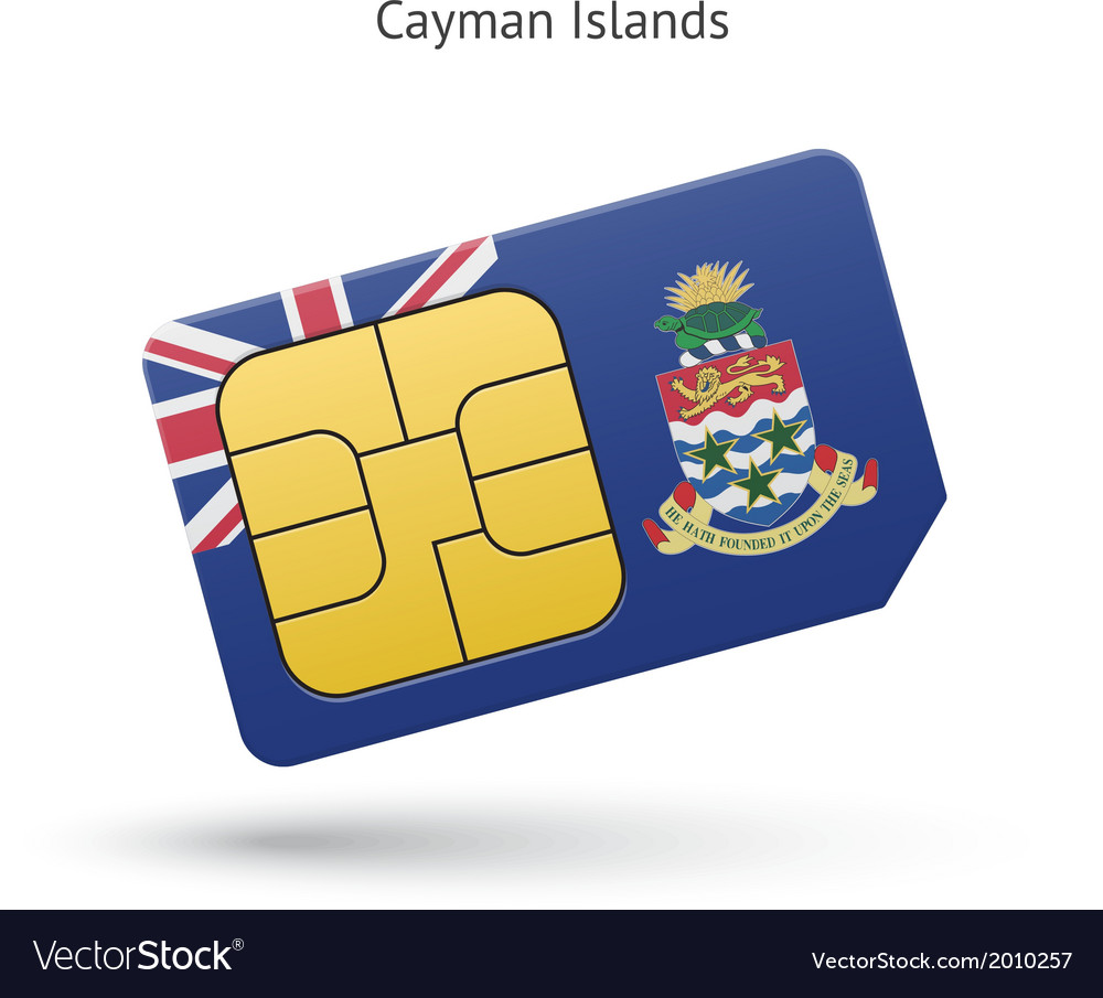 Cayman islands mobile phone sim card with flag vector | Price: 1 Credit (USD $1)