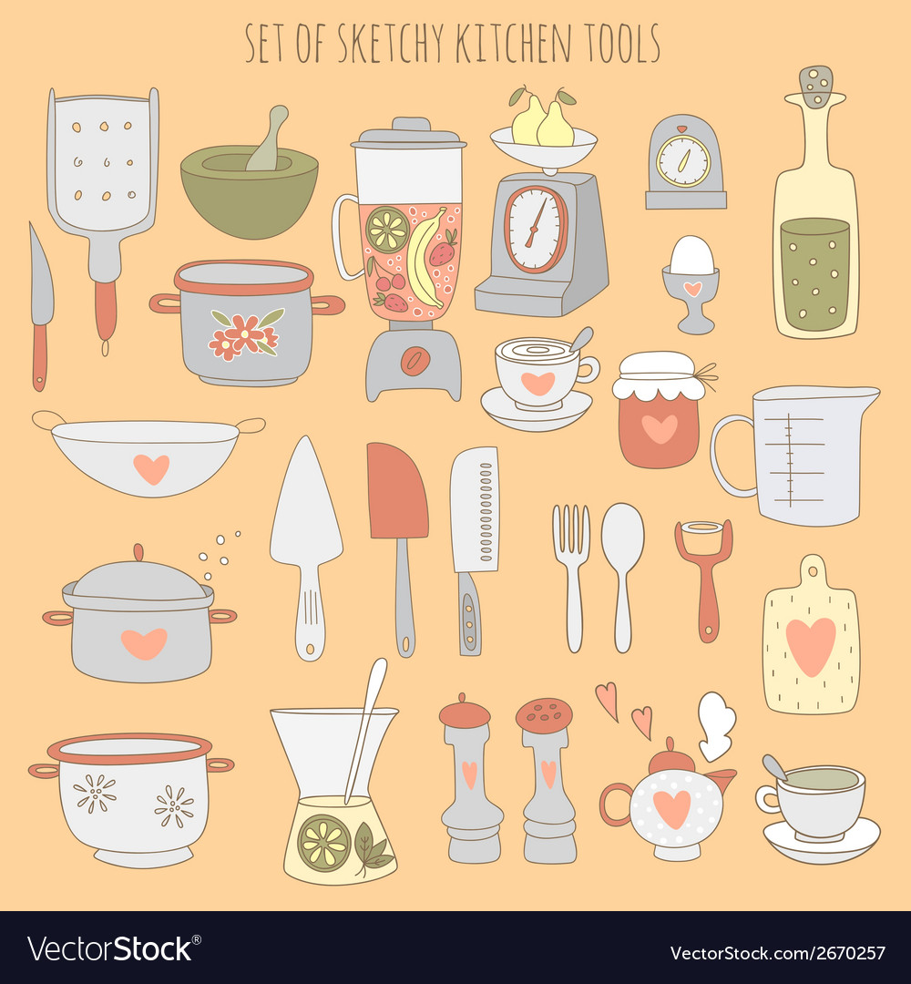 Colorful set of kitchen tools vector | Price: 3 Credit (USD $3)