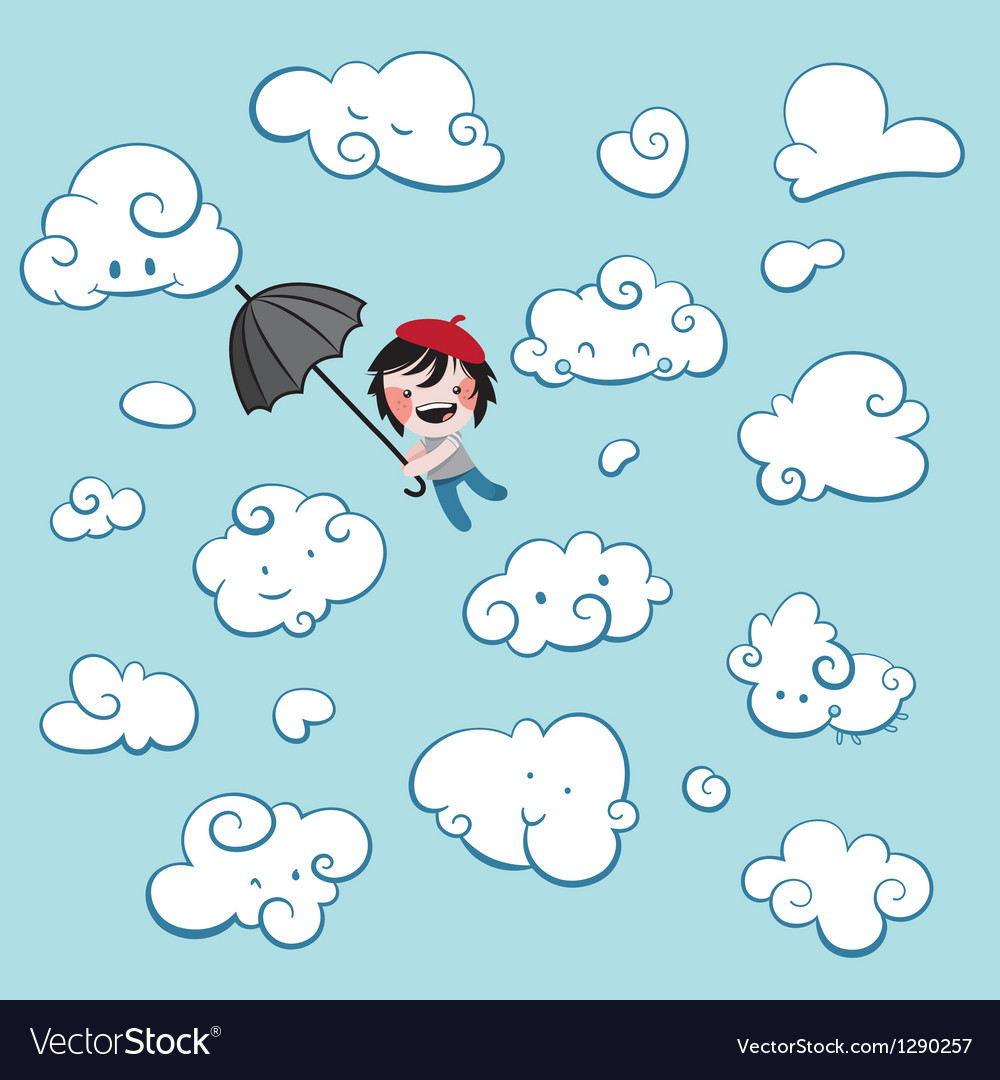 Cute boy flying among clouds vector | Price: 1 Credit (USD $1)