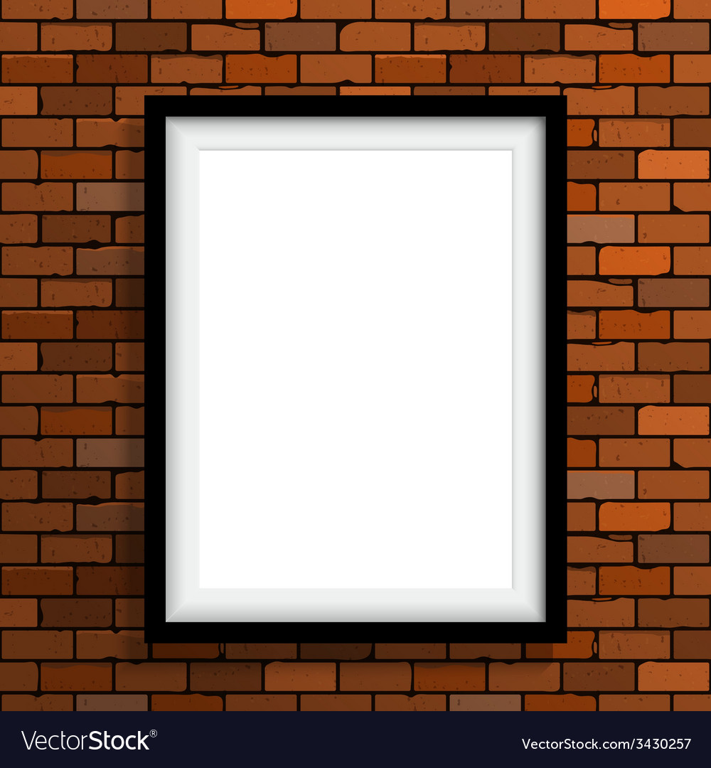 Empty frame on brown brick wall vector | Price: 1 Credit (USD $1)