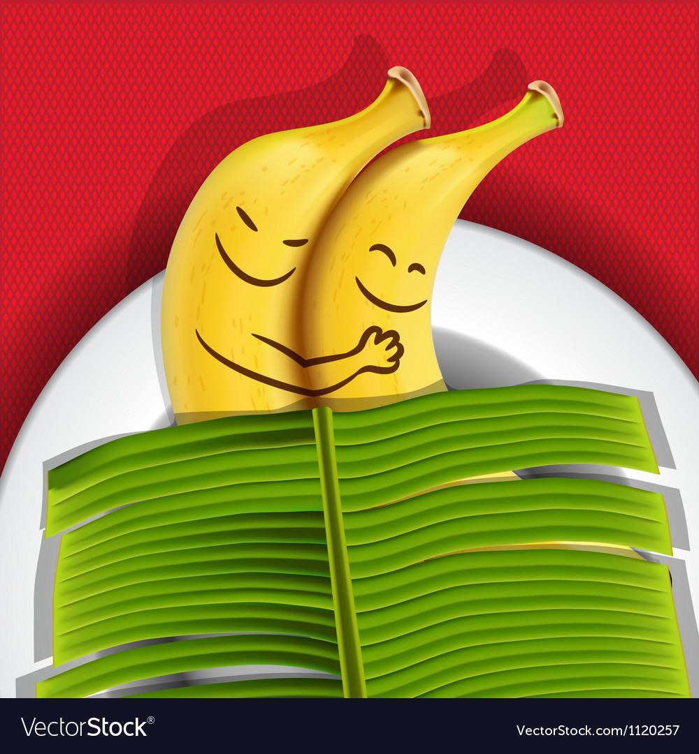 Funny sleeping bananas on a plate vector | Price: 1 Credit (USD $1)