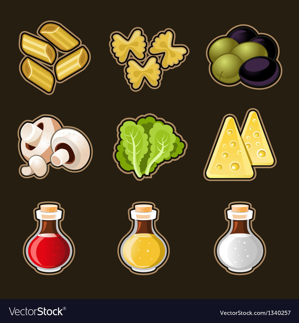 Italian food icon set vector | Price: 3 Credit (USD $3)
