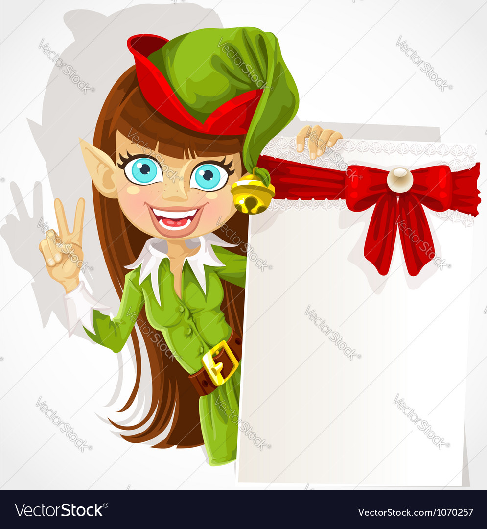 Lovely girl the christmas elf with a banner vector | Price: 5 Credit (USD $5)