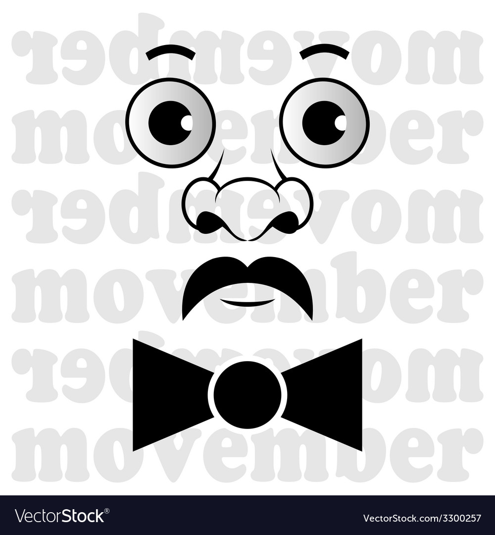 Movember - the man with mustache and bow tie vector | Price: 1 Credit (USD $1)