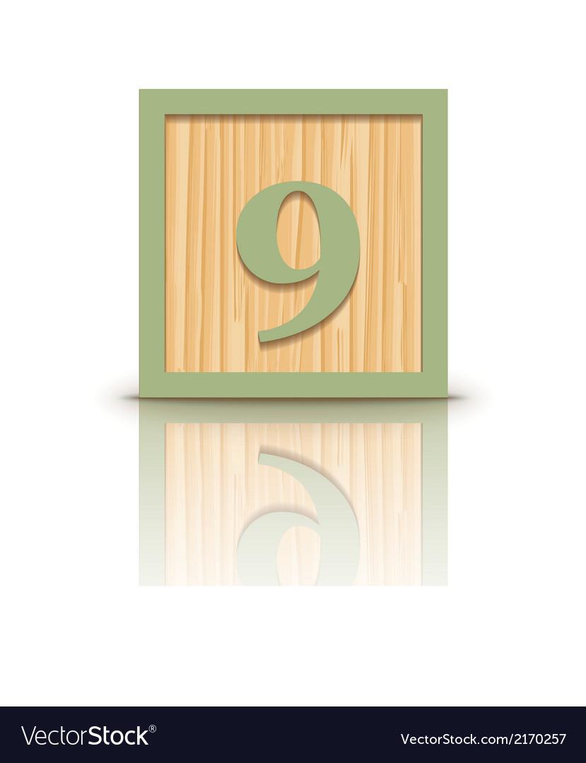 Number 9 wooden alphabet block vector   Price: 1 Credit (USD $1)