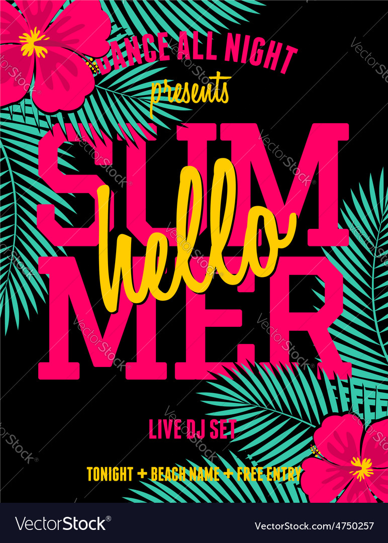 Summer party palm leaves and hibiscus flyer design vector | Price: 1 Credit (USD $1)
