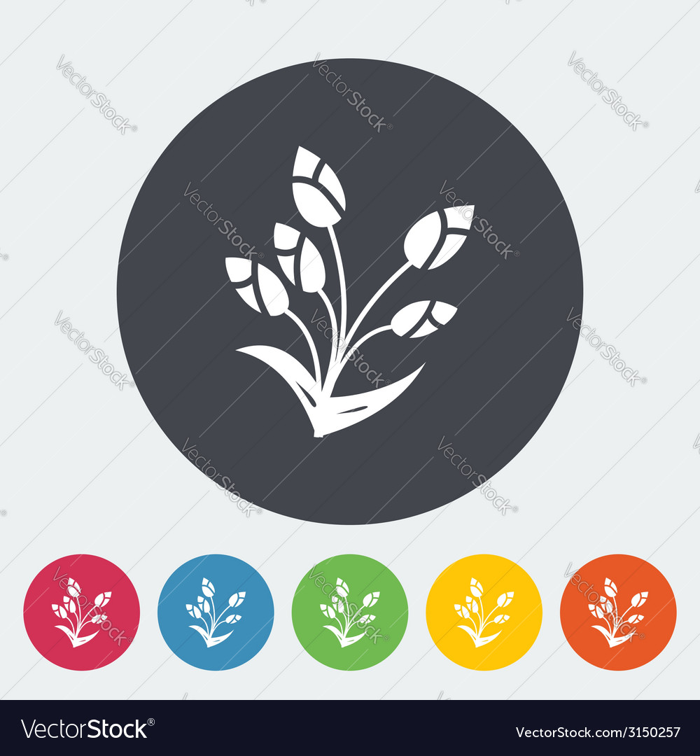 Tulip single flat icon vector | Price: 1 Credit (USD $1)