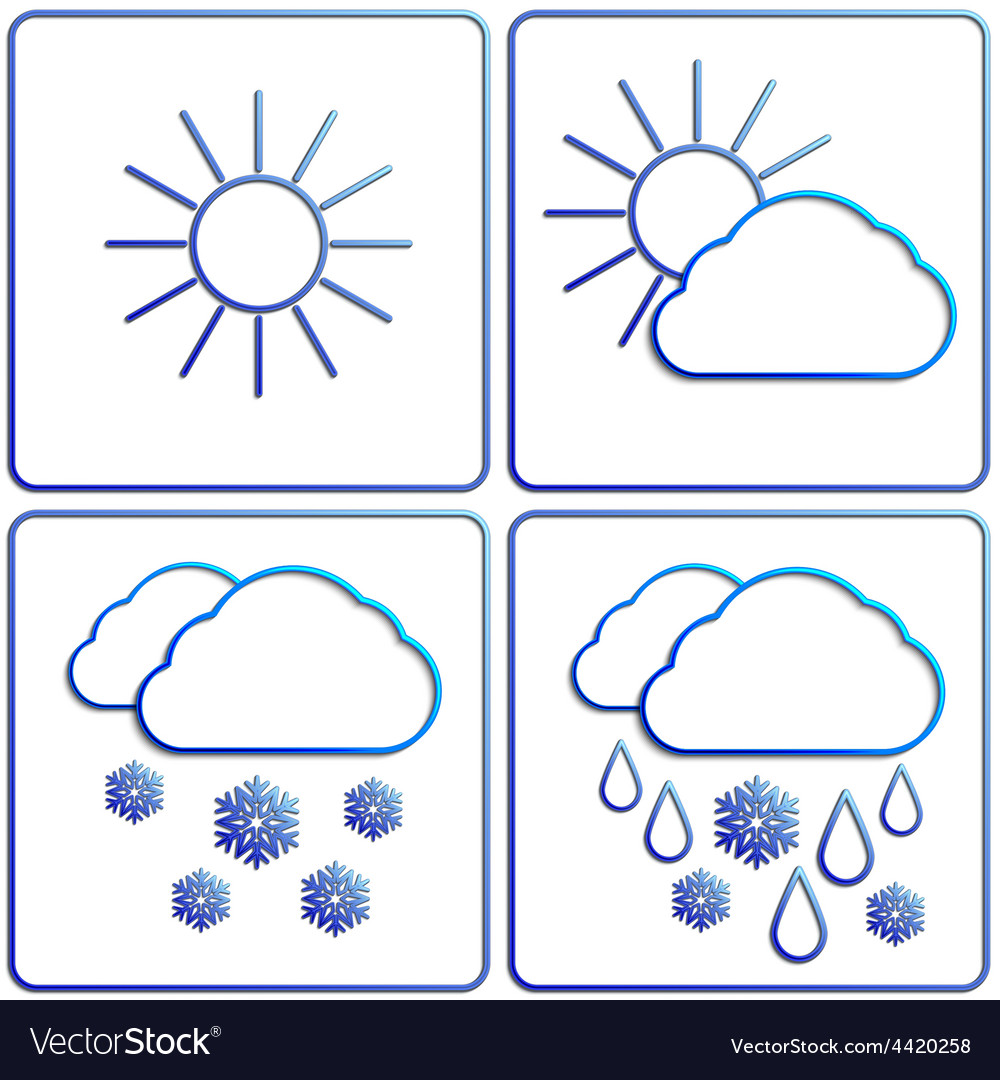 Abstract winter day weather flat image set vector | Price: 1 Credit (USD $1)