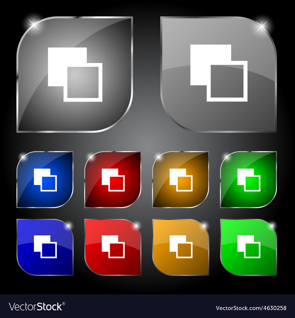 Active color toolbar icon sign set of ten colorful vector | Price: 1 Credit (USD $1)
