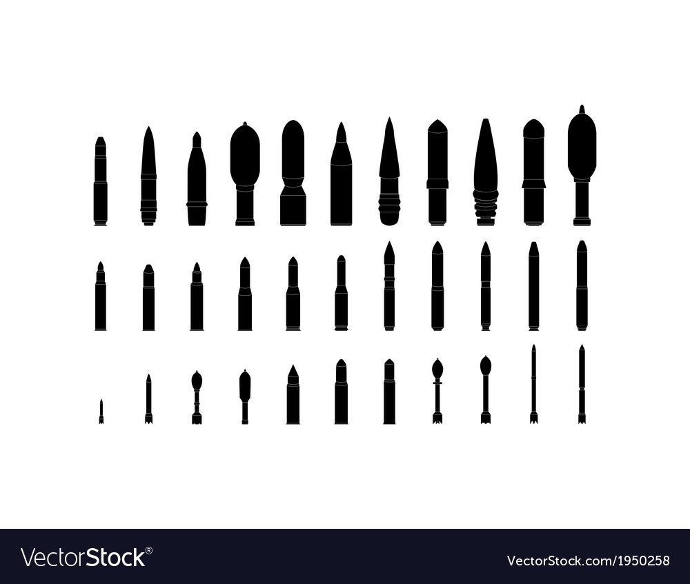 Artillery shells silhouettes set vector | Price: 1 Credit (USD $1)