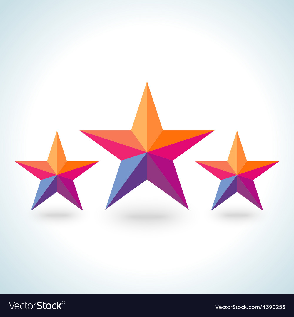 Bright colorful stars shape in modern polygonal vector | Price: 1 Credit (USD $1)