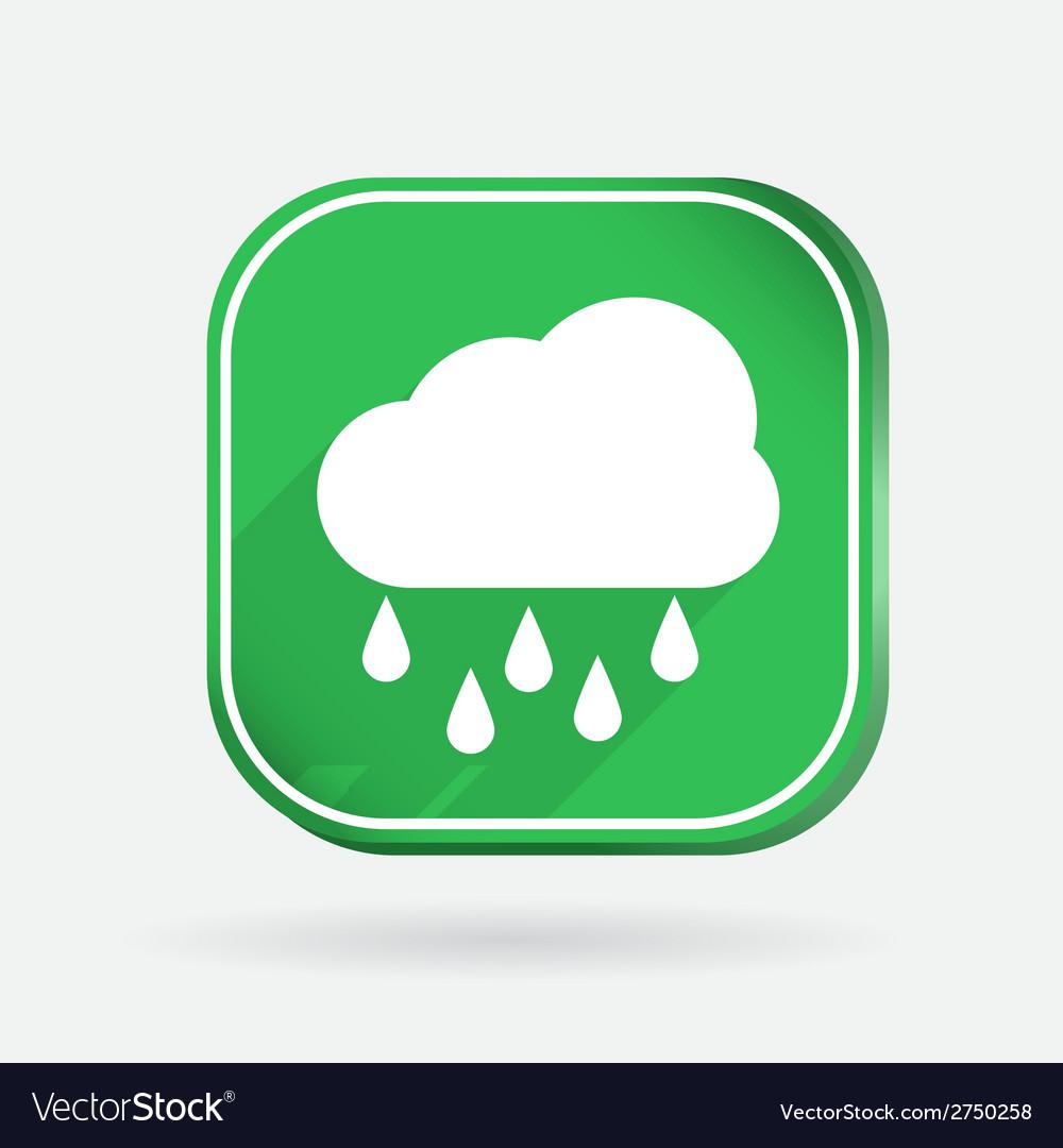Cloud rain color square icon vector | Price: 1 Credit (USD $1)