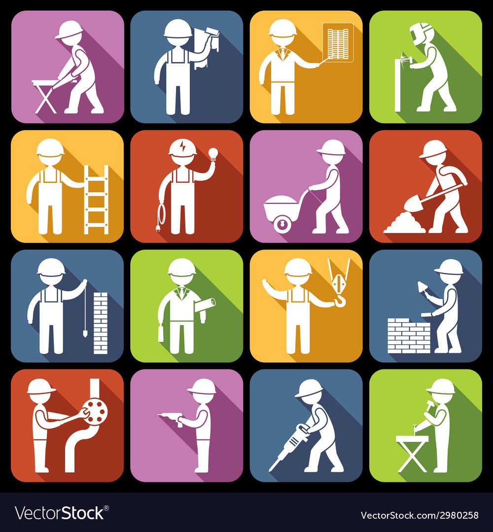 Construction worker icons white vector | Price: 1 Credit (USD $1)