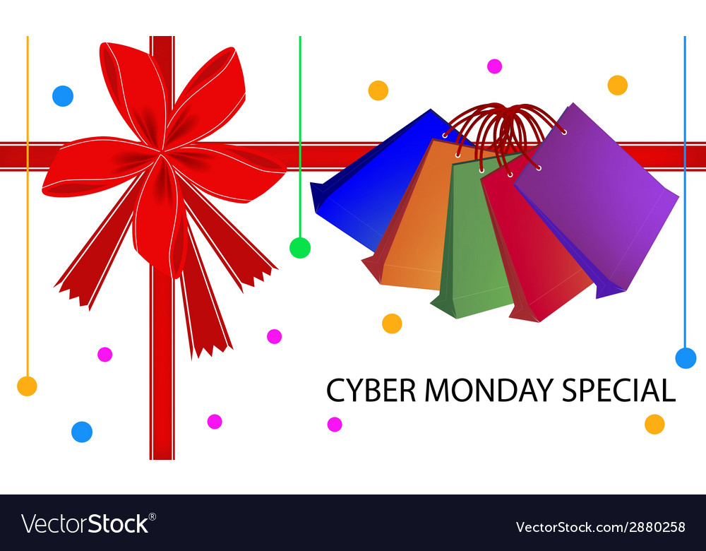 Cyber monday special card with shopping bags vector