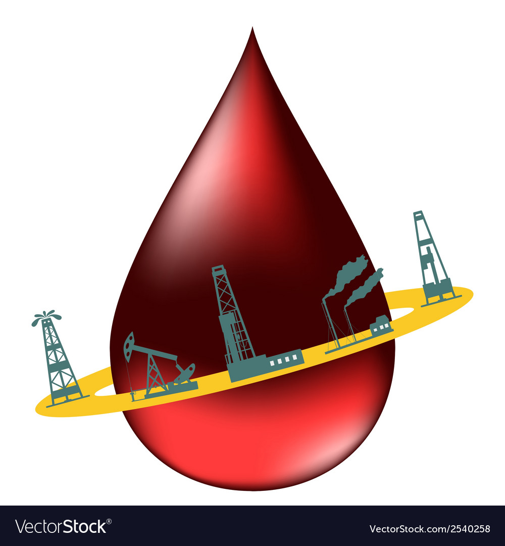 Drop of oil and the silhouettes of oil industry vector | Price: 1 Credit (USD $1)