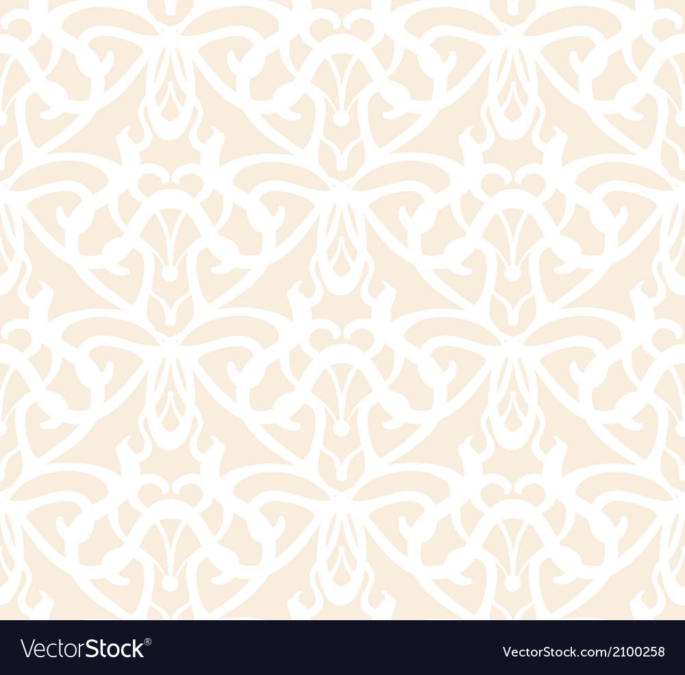 Elaborate white vintage seamless pattern on beige vector   Price: 1 Credit (USD $1)
