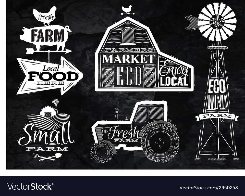 Farm vintage chalk vector | Price: 1 Credit (USD $1)