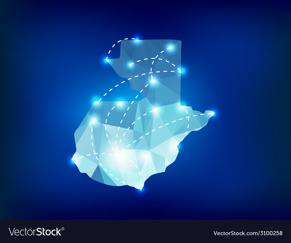 Guatemala country map polygonal with spot lights vector   Price: 1 Credit (USD $1)