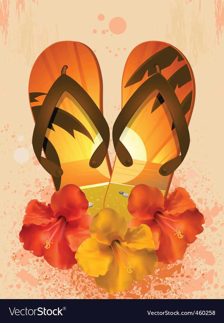 Hibiscus flowers and flip flops vector | Price: 1 Credit (USD $1)