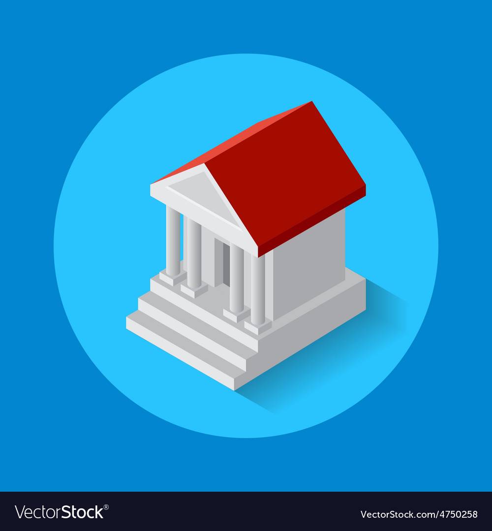 Icon of bank building flat isometric style vector   Price: 1 Credit (USD $1)