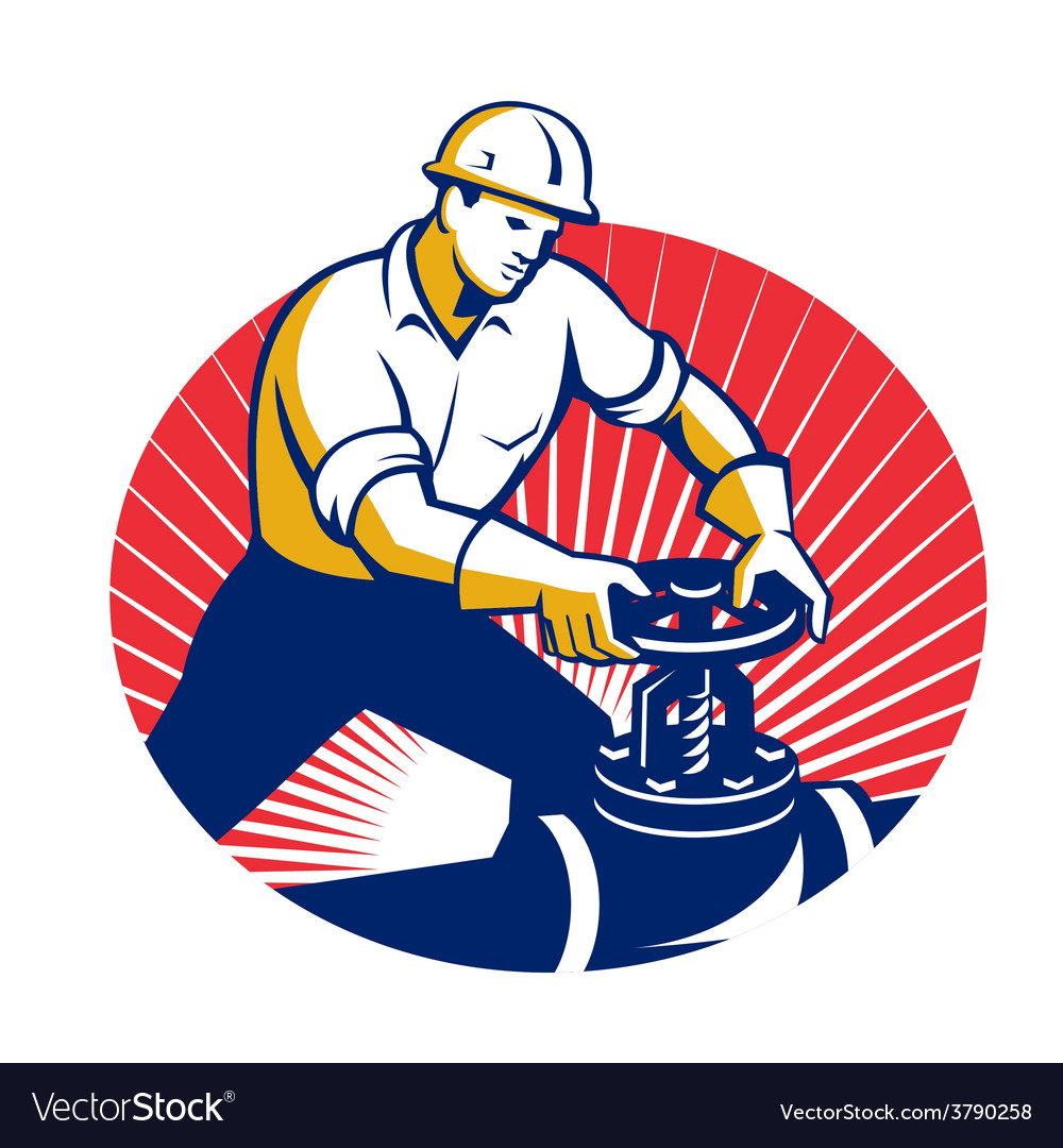 Pipefitter turning pipe valve retro vector | Price: 1 Credit (USD $1)