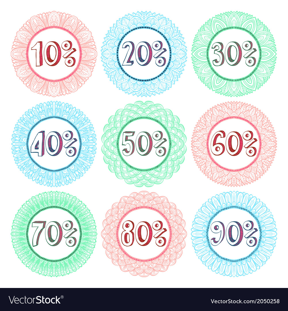 Set of nine hand drawn sale icons vector | Price: 1 Credit (USD $1)
