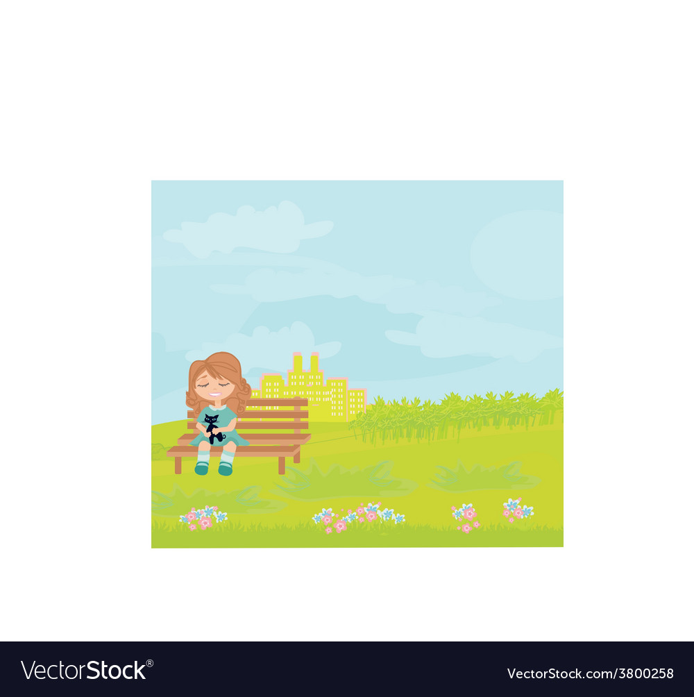 Sweet girl and her cat vector   Price: 1 Credit (USD $1)