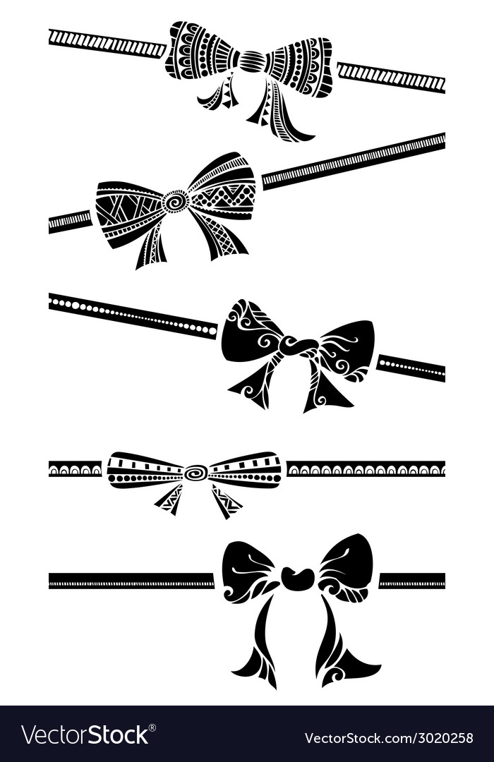 Vintage bows isolated on white background vector | Price: 1 Credit (USD $1)