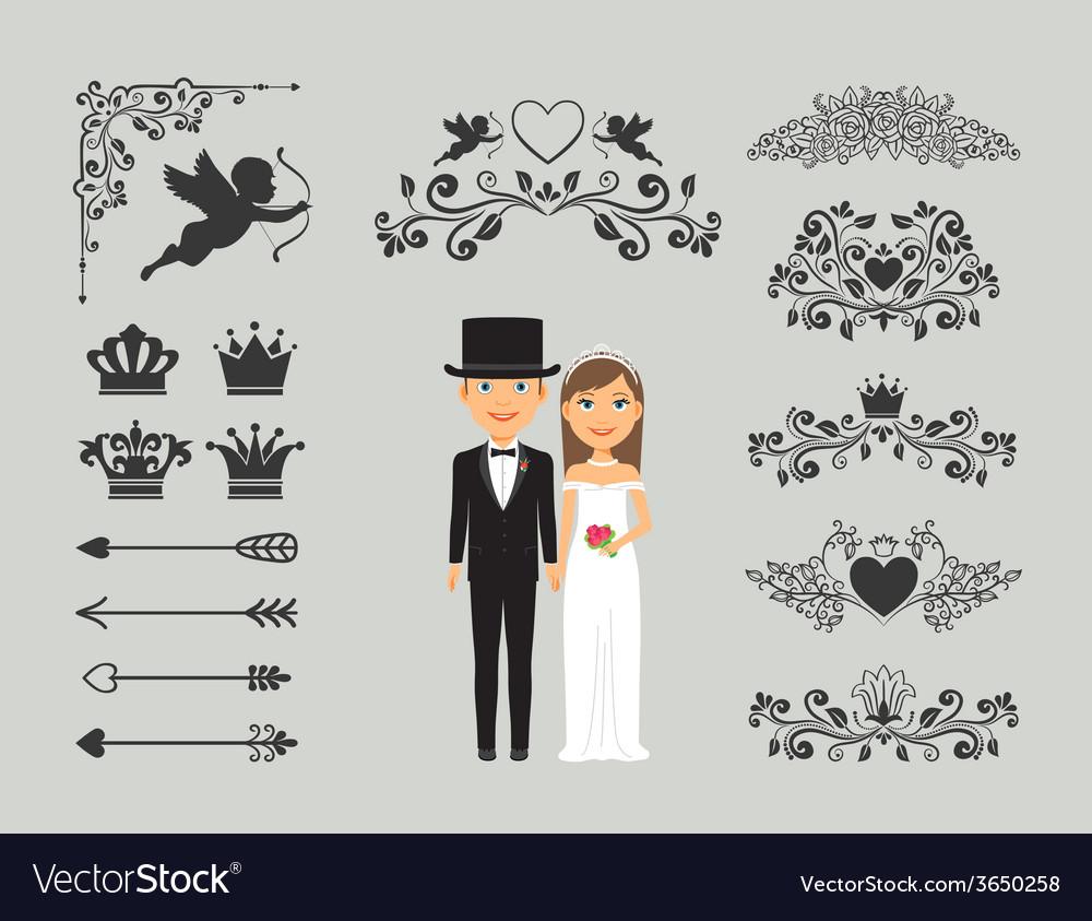Wedding invitation design elements vector | Price: 1 Credit (USD $1)