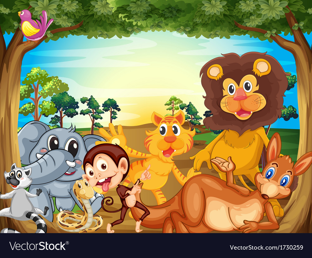 A group of animals relaxing under the tree vector | Price: 3 Credit (USD $3)