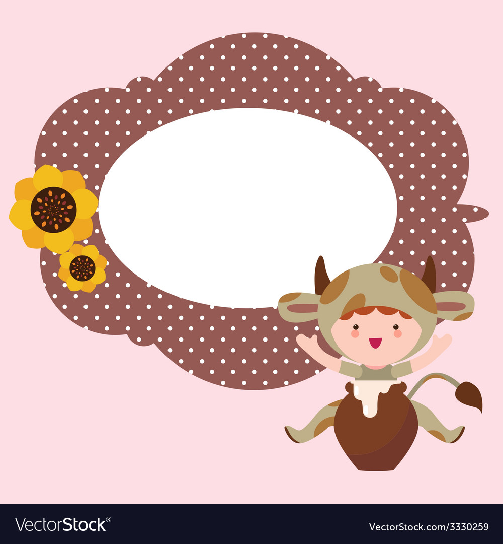 Fantasy frame design with cute baby cow character vector | Price: 1 Credit (USD $1)
