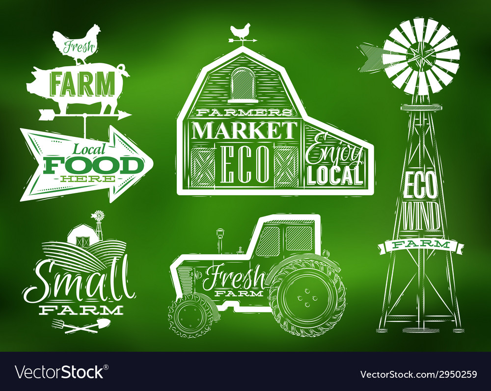 Farm vintage green vector | Price: 1 Credit (USD $1)
