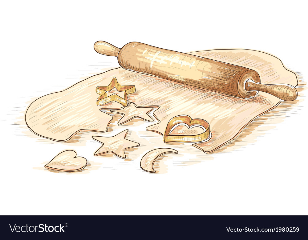Hand drawn of roll dough with cookies vector | Price: 1 Credit (USD $1)