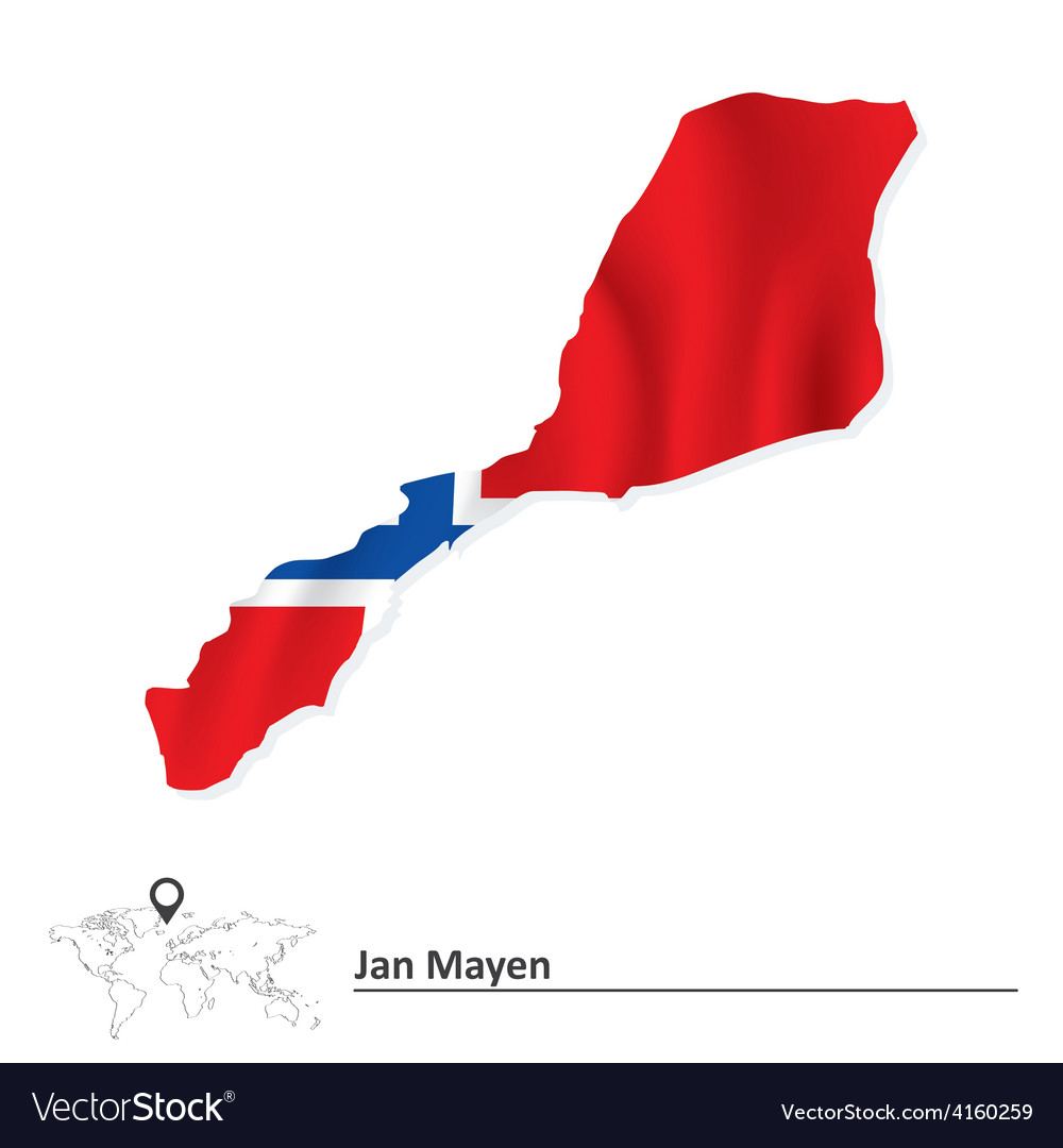 Map of jan mayen with flag vector | Price: 1 Credit (USD $1)