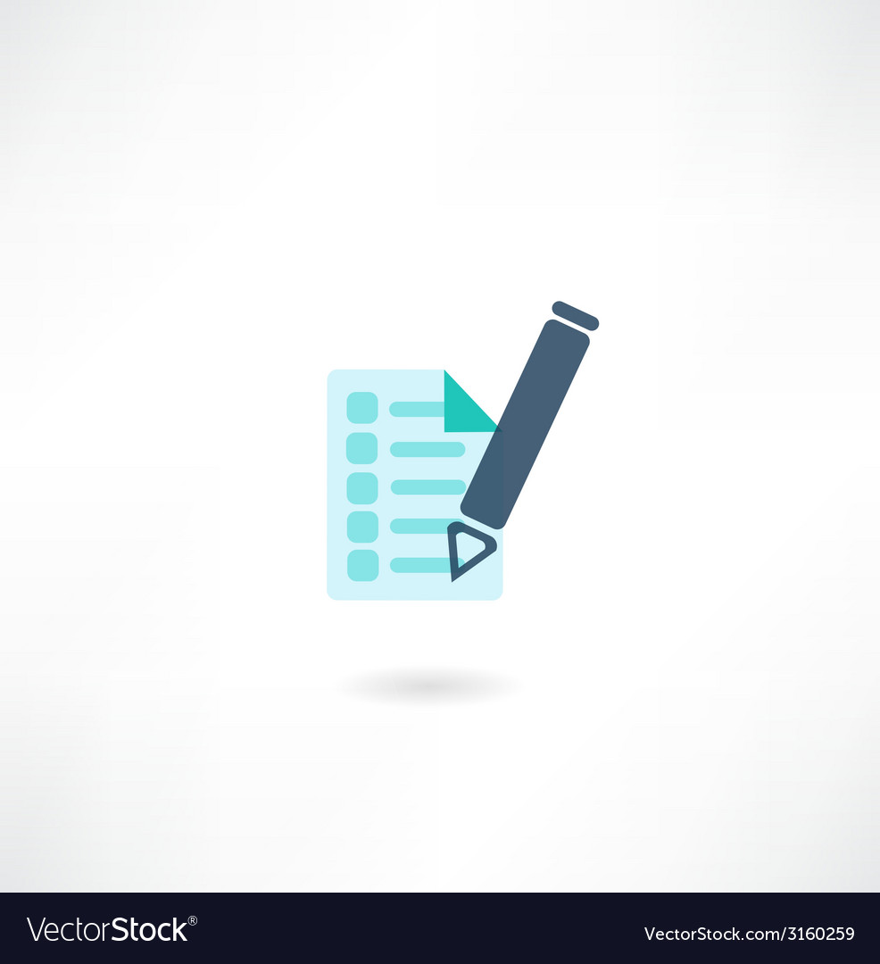 Pen with document icon vector | Price: 1 Credit (USD $1)