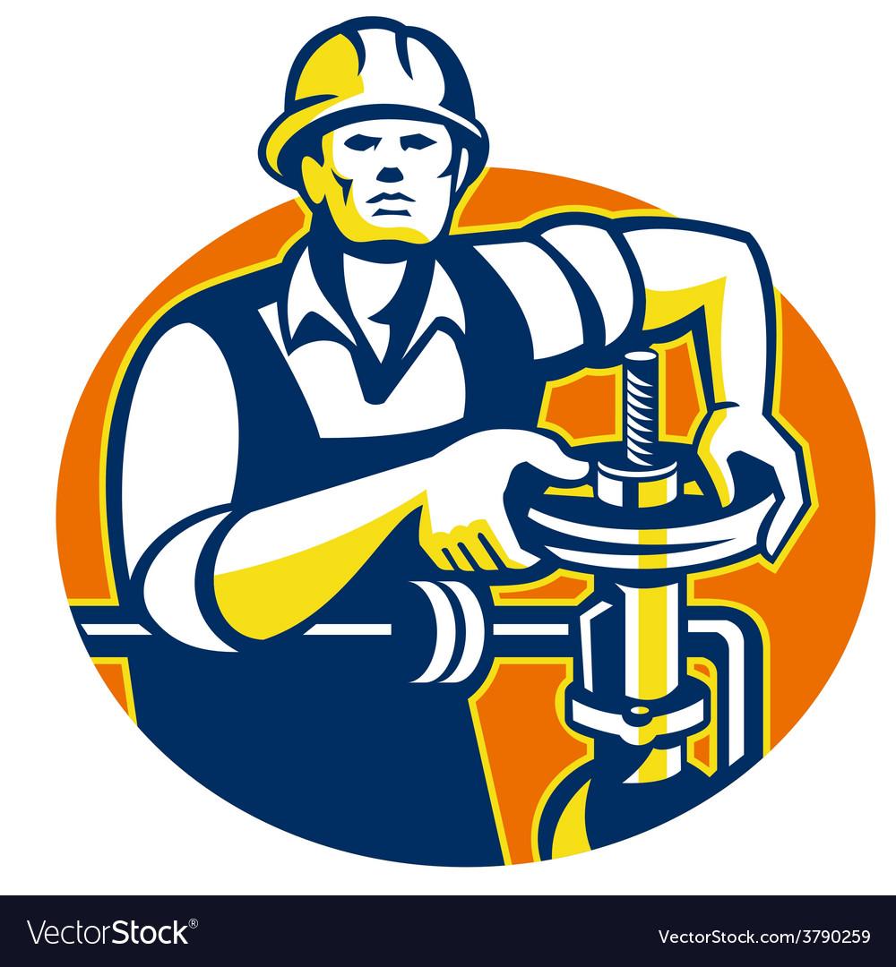 Pipefitter oil worker tighten pipe valve vector | Price: 1 Credit (USD $1)