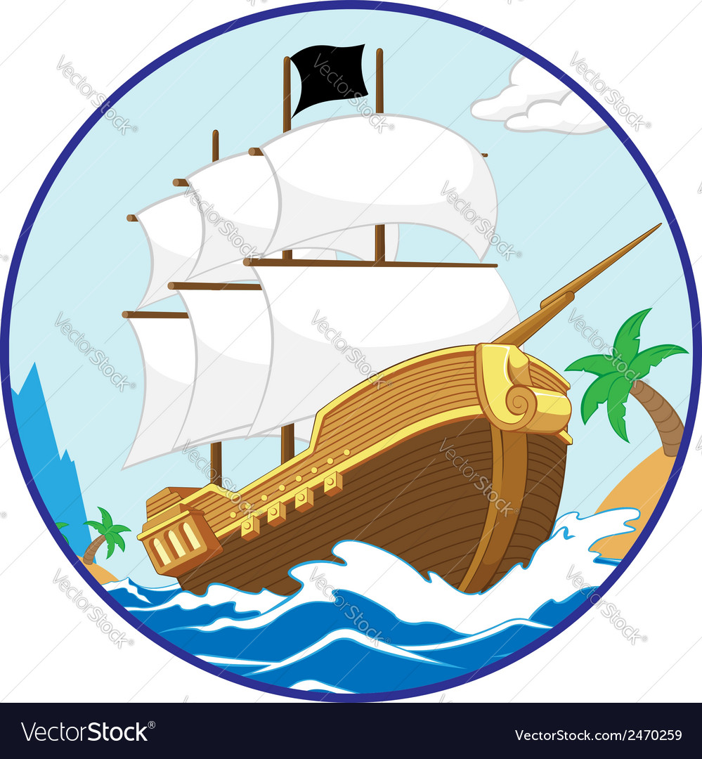 Pirate ship on the shore circle frame vector | Price: 1 Credit (USD $1)