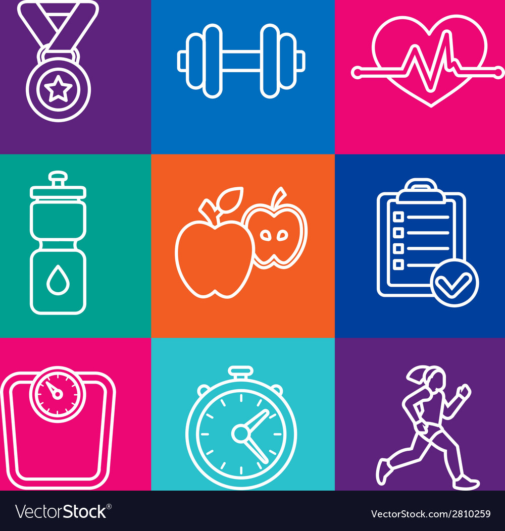 Set of fitness icons and achievement badges vector | Price: 1 Credit (USD $1)
