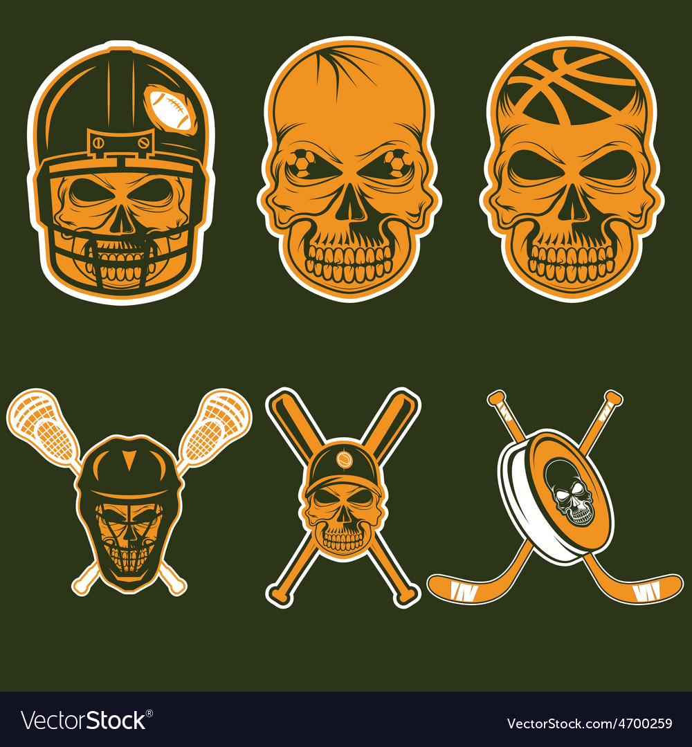 Set of sports team labels with skull vector | Price: 1 Credit (USD $1)