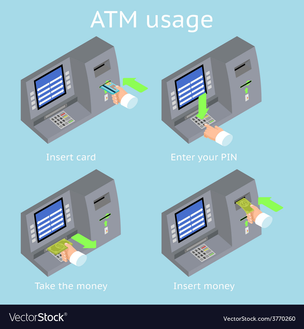 Atm terminal usage payment with credit card take vector | Price: 1 Credit (USD $1)