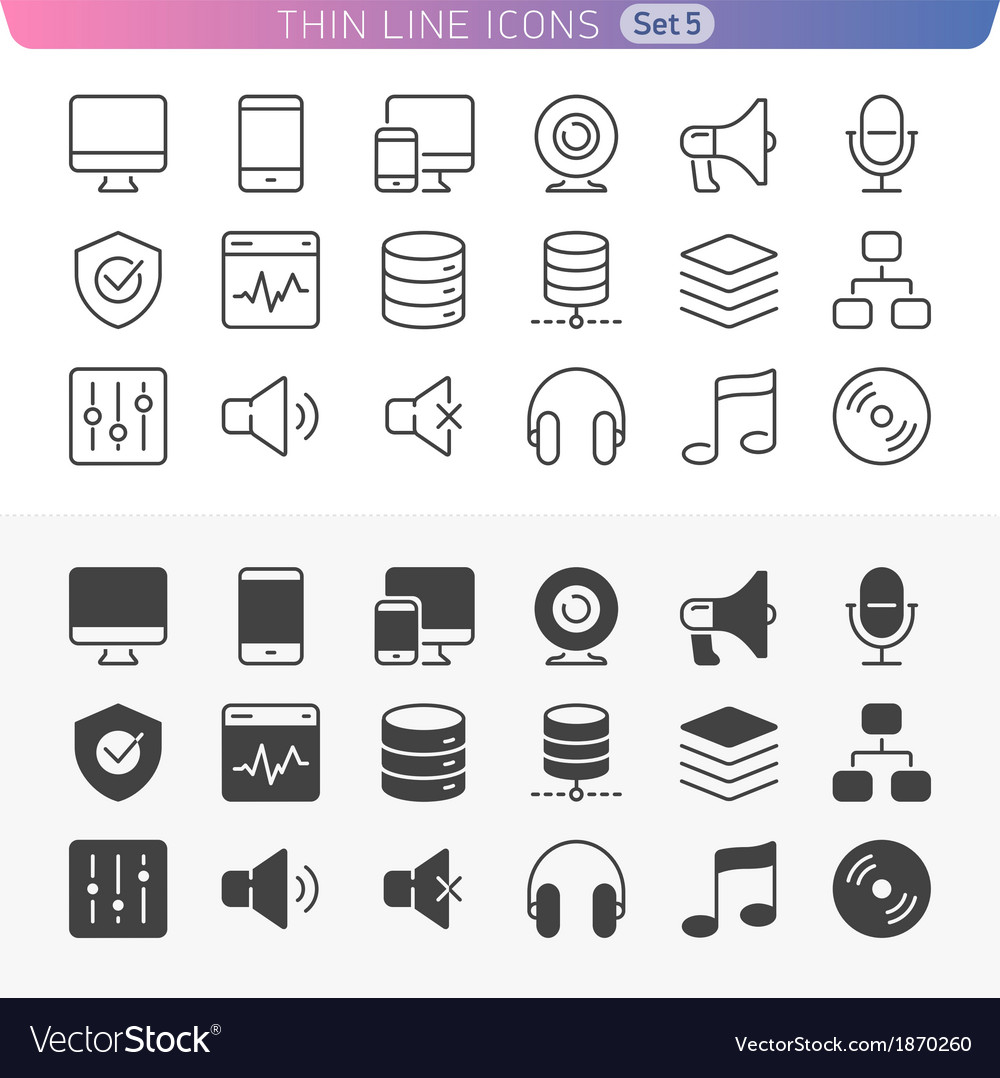 Computer and media set vector | Price: 1 Credit (USD $1)