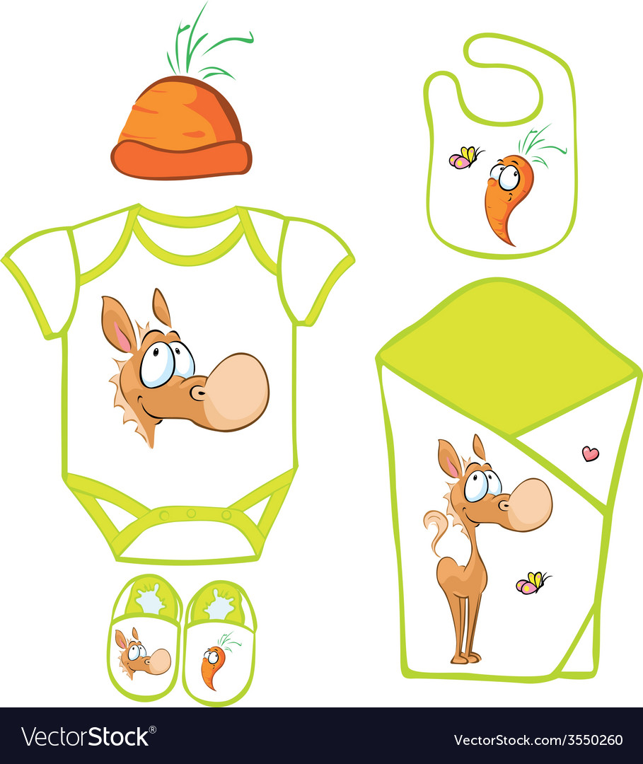 Cute baby layette with cute horse and carrot - vector | Price: 1 Credit (USD $1)