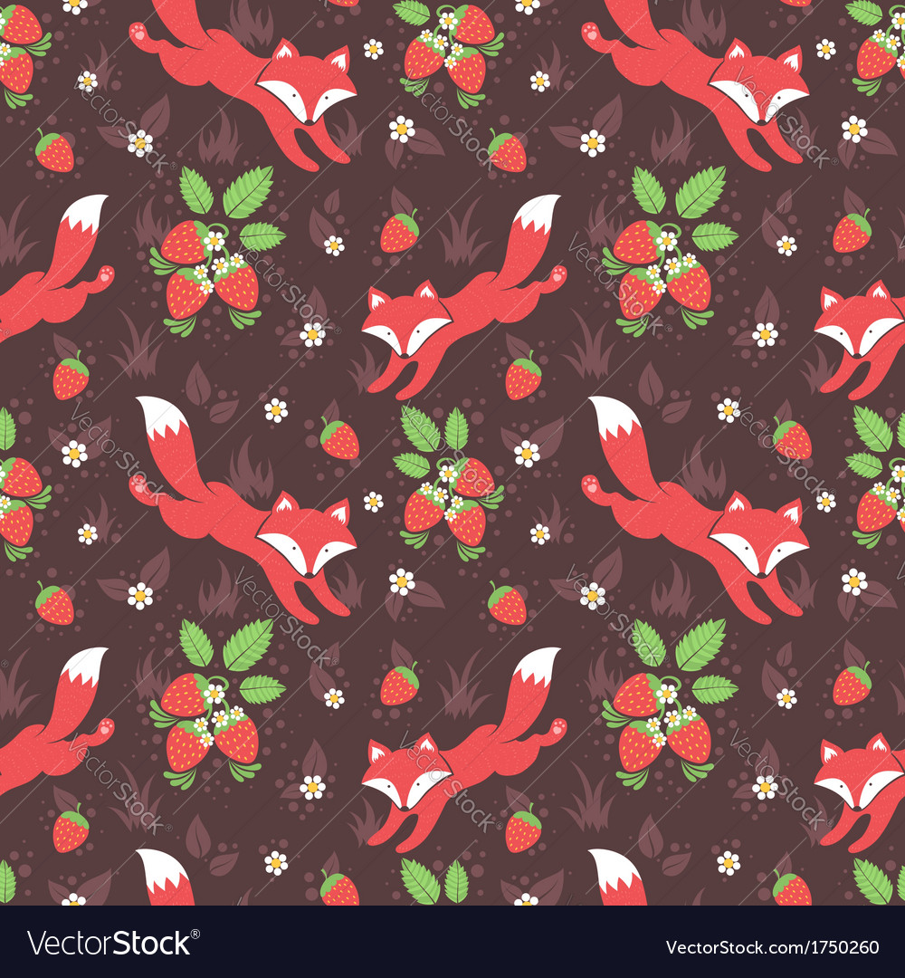 Foxes and wild strawberries seamless pattern vector | Price: 1 Credit (USD $1)