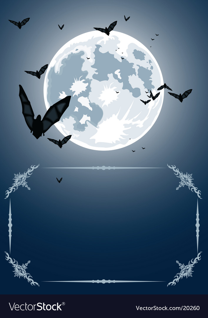Halloween frame with moon and bats vector | Price: 1 Credit (USD $1)