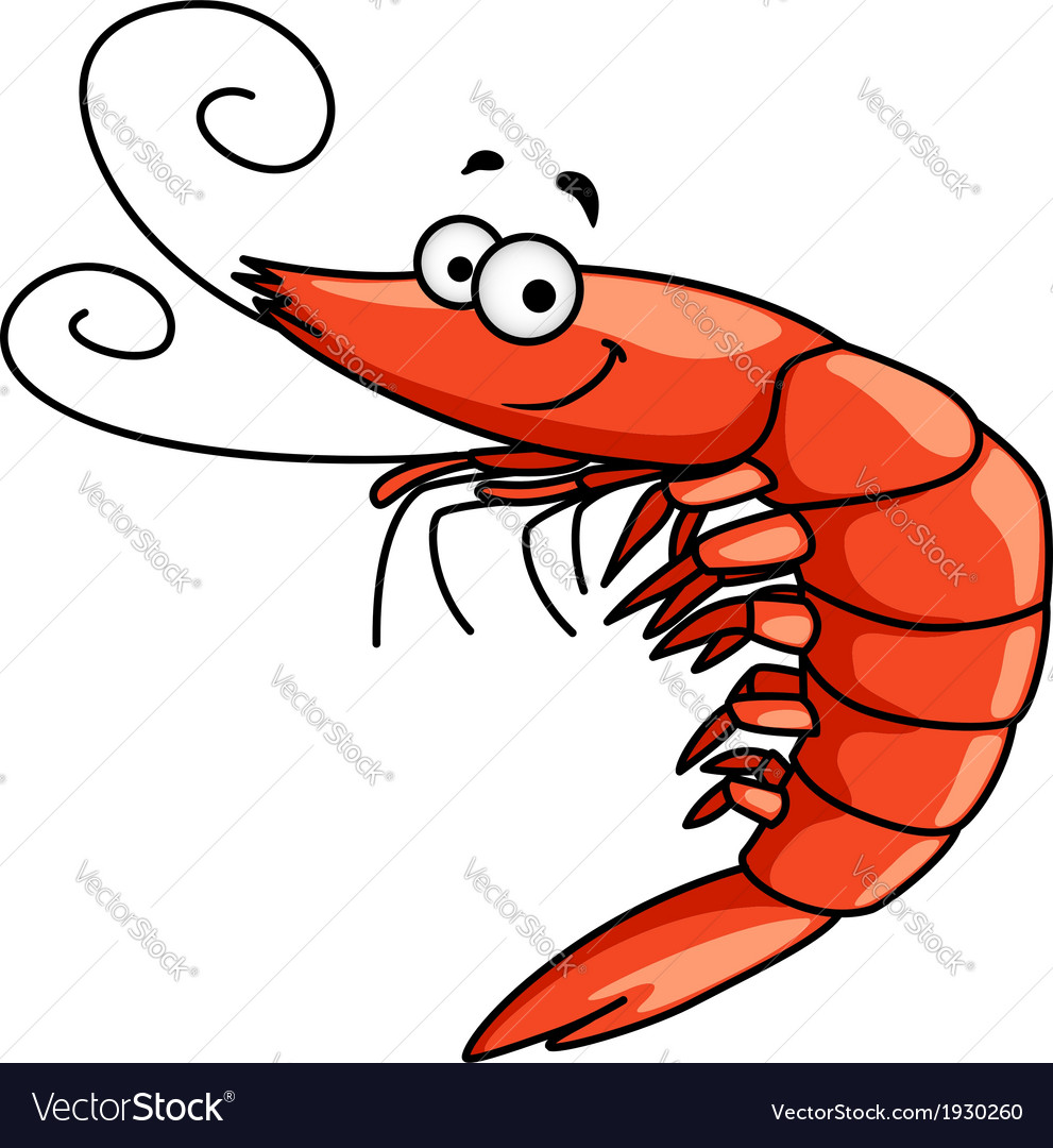 Happy prawn or shrimp with curly feelers vector | Price: 1 Credit (USD $1)