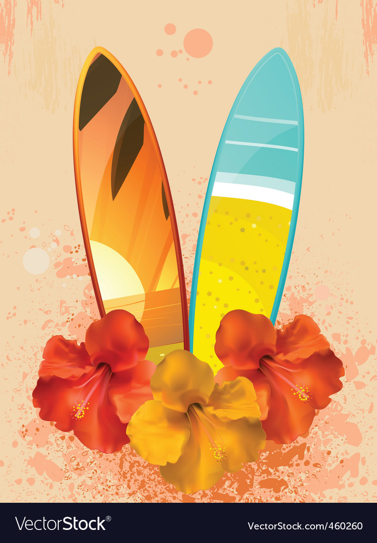 Hibiscus flowers and surfboards vector | Price: 1 Credit (USD $1)