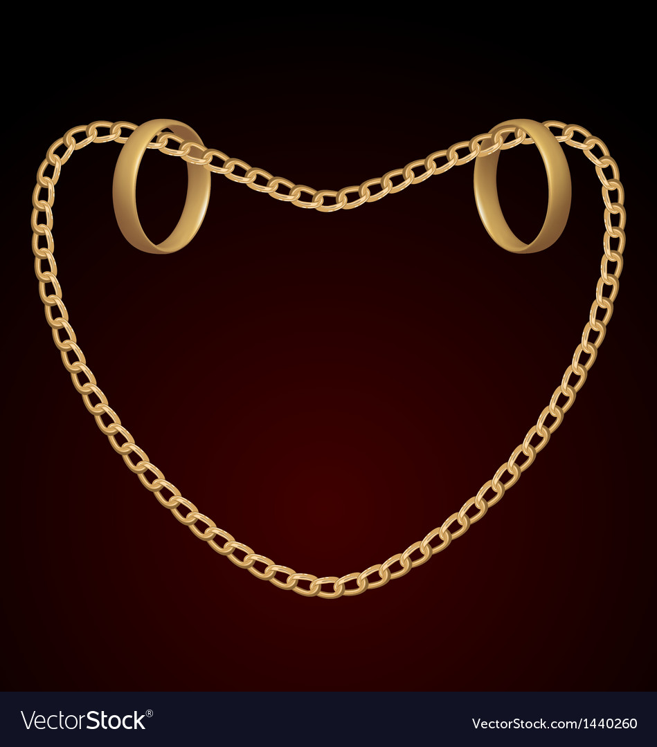 Jewelry two rings on golden chain of heart shape vector | Price: 1 Credit (USD $1)