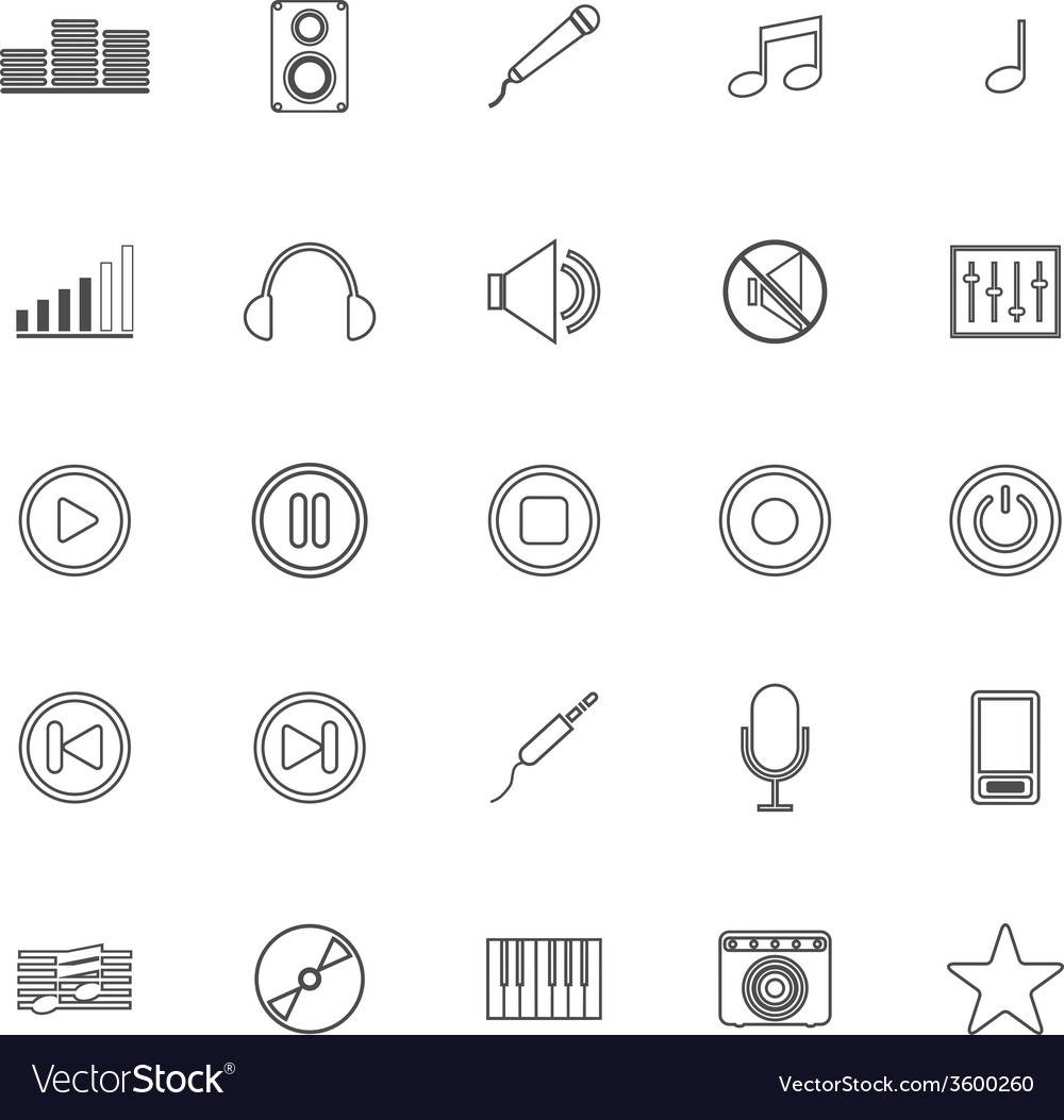 Music line icons on white background vector | Price: 1 Credit (USD $1)